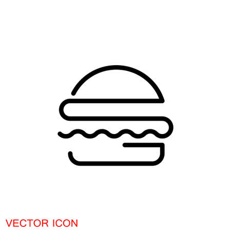 Burger icon, flat design Hamburger web icon. 矢量图像