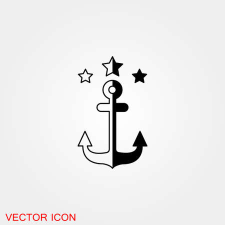 Anchor icon. Anchored flat vector icon for apps Ilustração