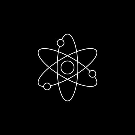 Atom icon, black science fiction atom 矢量图像