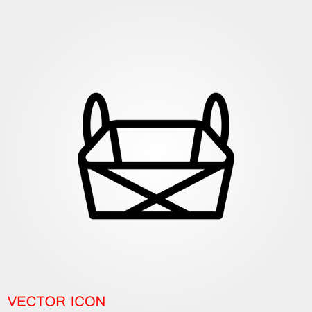 Basket icon, plate with spoon BBQ. Vector 免版税图像 - 151359775