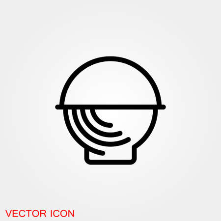 Basket icon, plate with spoon BBQ. Vector sign 矢量图像