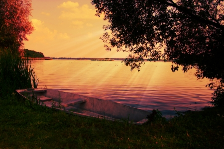 dramatic light over the lake in Valley Dolina Baryczy  Milicz, Poland  Stock Photo - 15083863