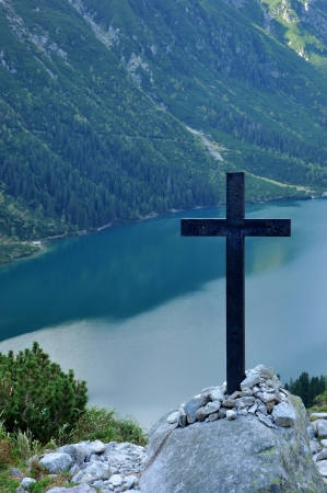 Cross over lake  Morskie Oko - Tatry - Poland Stock Photo - 15147771