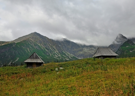Two old house on hill in tatry