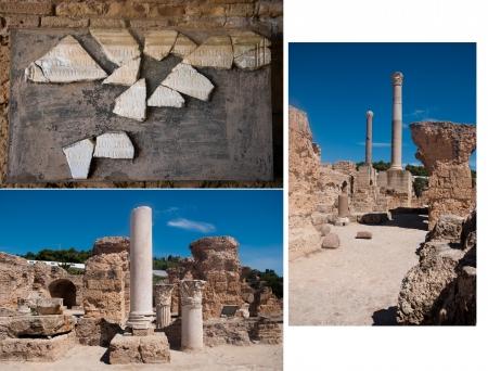 Some of the Roman ruins in Carthago, Tunisia, collage