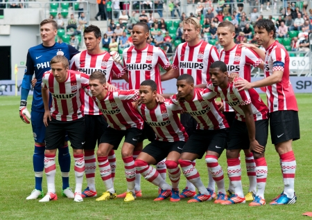 PSV Eindhoven -Benfica Lisboa, July 21  PSV Eindhoven players group photo before start of frendly match between PSV and Benfica Lisboa, July 22, 2012 in Wroclaw, Poland Editorial