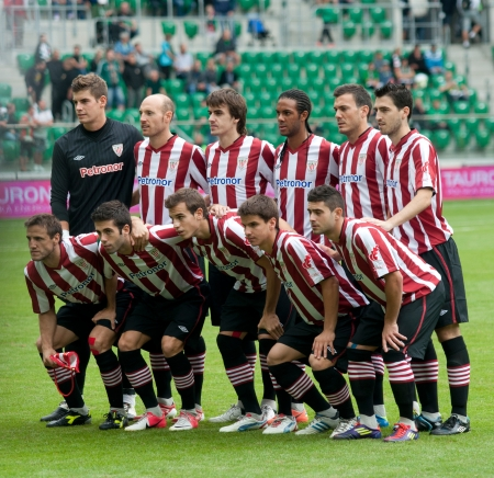 Slask Wroclaw -Athletic Bilbao, July 21  Athletic players group photo before start of frendly match between Athletic and Slask Wroclaw, July 22, 2012 in Wroclaw, Poland