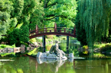 Bridge and garden in Japan style Stock Photo