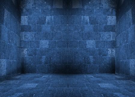 dark blue empty room with floor interior Stock Photo - 16723993