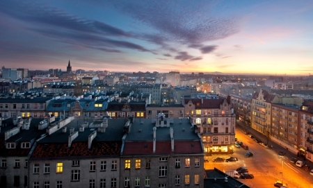 old town Wroclaw at sunset photo