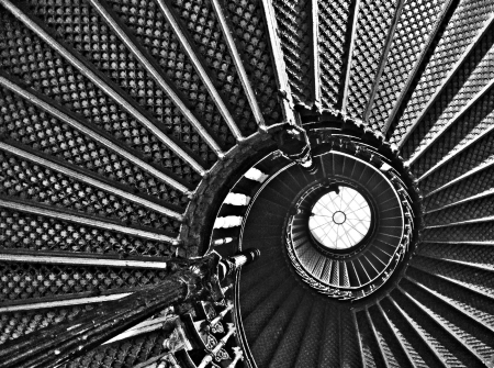 spiraling stairs, black and white photo