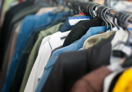 old clothes on second hand market