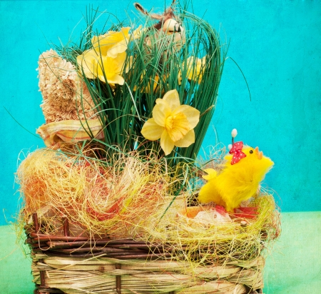 Vintage  basket with easter eggs Stock Photo - 18404383