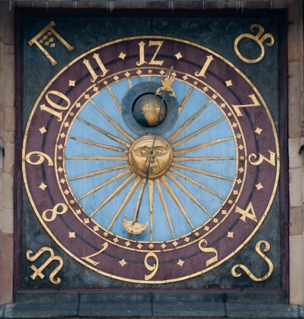 Closeup of solar clock on Wroclaws Tower, Poland Stock Photo