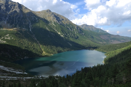 morskie: Summer mountain landscape in the Polish Tatry, Morskie Oko