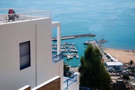 tunisie: View from Sidi Bou Said to the Marina Harbour, Tunisia