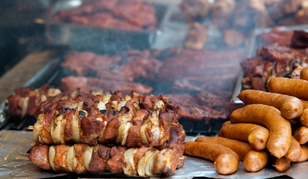 shish kebab: barbecue dinner skewers shish kebab and other meat