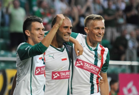 premiership: WROCLAW, POLAND - July 18 UEFA Europa League, Paixao after score a goal, Slask Wroclaw vs Rudar Pljevlja on July 18 , 2013 in Wroclaw, Poland  Editorial