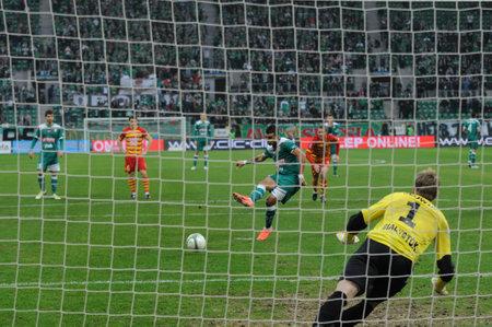 WROCLAW, POLAND - November 25: Diaz scores a penalty kick, Slask Wroclaw vs Jagielonia Bialystok on November 25, 2012 in Wroclaw, Poland.
