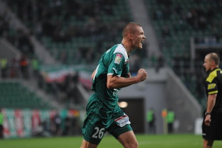premiership: WROCLAW, POLAND - November 25: Kazimierczak after score a goal, Slask Wroclaw vs Jagielonia Bialystok on November 25, 2012 in Wroclaw, Poland.