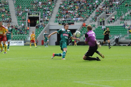 premiership: WROCLAW, POLAND - August 26: Faul against Waldemar Sobota, Slask Wroclaw vs Korona Kielce on August 26, 2012 in Wroclaw, Poland.
