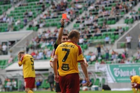 premiership: WROCLAW, POLAND - August 26: Red card for Lisowski, Slask Wroclaw vs Korona Kielce on August 26, 2012 in Wroclaw, Poland.