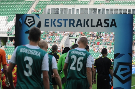 premiership: WROCLAW, POLAND - July 28:T-Mobile Ekstraklasa, Players entering a new season, Slask Wroclaw vs Jagielionia Bialystok on July 28. 2013 in Wroclaw, Poland. Editorial
