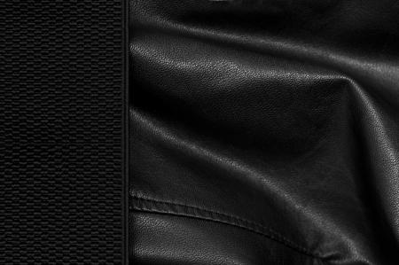 margen: Fondo de cuero negro con un margen Foto de archivo