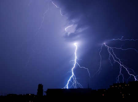 lightning storm: lightning strike in the city Stock Photo
