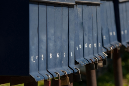 a rural community: row of mail boxes in a rural community