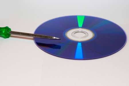 data loss: data loss theme showing the surface of a scratched CD with Screwdriver Stock Photo