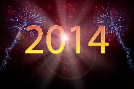 Nouvelle année 2014 feux d'artifice Banque d'images - 23980706