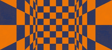 Abstract blue and orange checkered texture photo