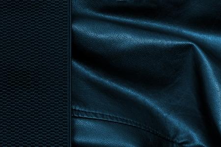margen: Fondo de cuero negro y azul con margen