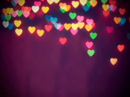 Colorful heart bokeh with copy space background