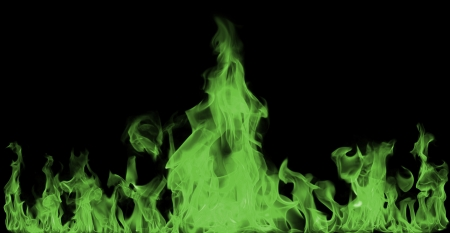green Fire flames on black background