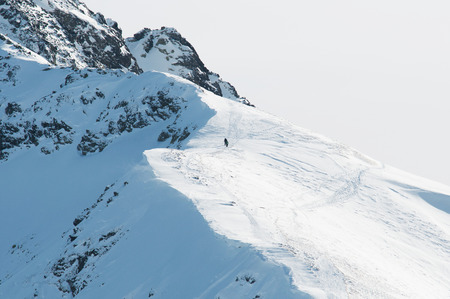 Two people on big mountain hiking,