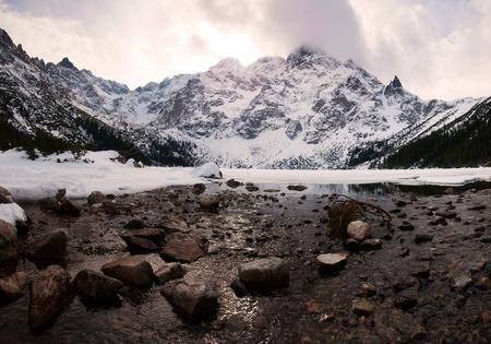 mnich: Polish Tatra mountains Morskie Oko lake on susnet
