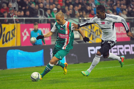 premiership: Wroclaw. POLAND - March 09: Match T-Mobile Ekstraklasa between Wks Slask Wroclaw and Legia Warszawa. Flavio Paixao in action on  March 09, 2014 in Wroclaw. Poland. Editorial