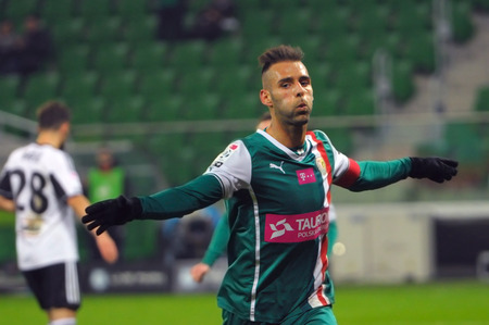 scored: Wroclaw. POLAND - March 09: Match T-Mobile Ekstraklasa between Wks Slask Wroclaw and Legia Warszawa. Marco Paixao after scored a goal on  March 09, 2014 in Wroclaw. Poland.