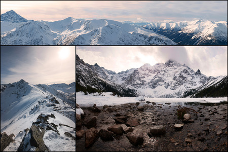 oko: Mountain Collage, view from Kasprowy Wierch and Morskie Oko, Tatry, Poland Stock Photo