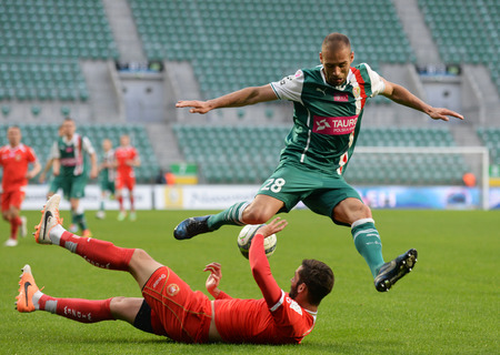 Wroclaw. POLAND - May12: Match T-Mobile Ekstraklasa between Wks Slask Wroclaw and Widzew Lodz. Flavio Paxaio in action on May 12, 2014 in Wroclaw. Poland.