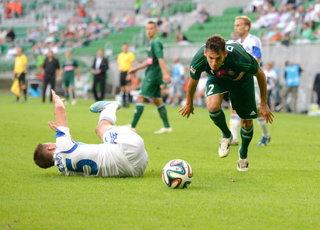 ruch: Wroclaw  POLAND - July 20  Match T-Mobile Ekstraklasa between Wks Slask Wroclaw and Ruch Chorzow  Dudu in hard tackle on July 20, 2014 in Wroclaw  Poland