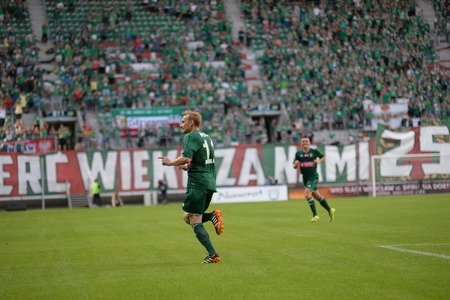 ruch: Wroclaw  POLAND - July 20  Match T-Mobile Ekstraklasa between Wks Slask Wroclaw and Ruch Chorzow  Sebastian Mila after score a goal on July 20, 2014 in Wroclaw  Poland
