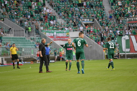 Wroclaw  POLAND - July 20  Match T-Mobile Ekstraklasa between Wks Slask Wroclaw and Ruch Chorzow Tadeusz Pawlowski with players after score a goal by Sebastian Mila on July 20, 2014 in Wroclaw  Poland