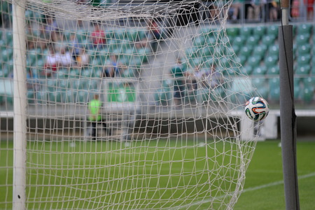 ruch: Wroclaw  POLAND - July 20  Match T-Mobile Ekstraklasa between Wks Slask Wroclaw and Ruch Chorzow  Goal, ball in the net on July 20, 2014 in Wroclaw  Poland  Editorial