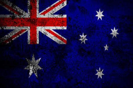 canberra: grunge flag of Australia with capital in Canberra
