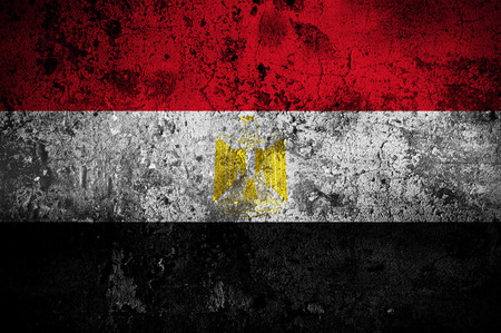 grunge flag of Egypt with capital in Cairo photo