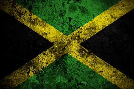 kingston: grunge flag of Jamaica with capital in Kingston Stock Photo