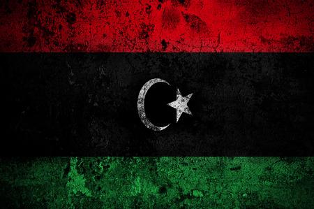 lybia: grunge flag of Libya with capital in Tripoli